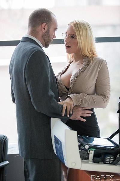 Hot blonde secretary Kyra Hot fucking co-worker in black lingerie