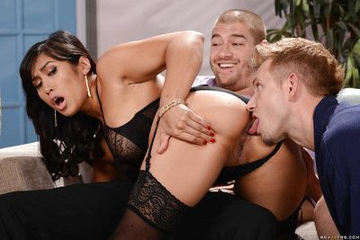 Asian beauty Mia Li taking double penetration from two large cocks