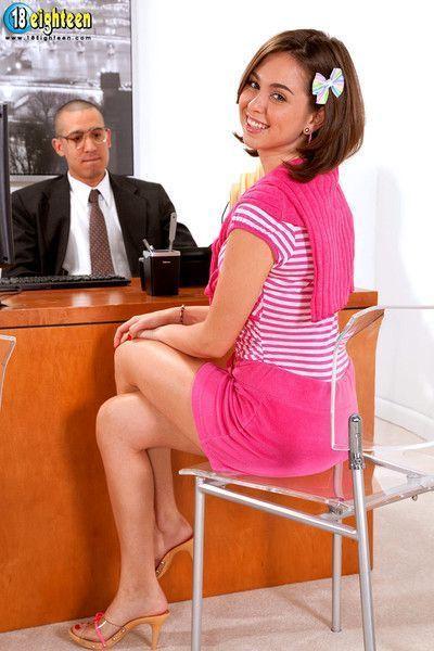 Boss man punishingshy employee in the office