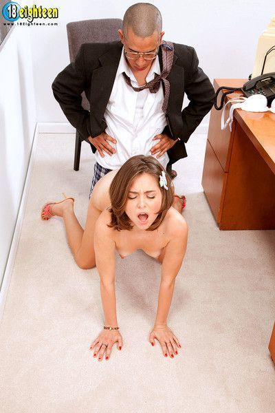 Boss man punishingshy employee in the office
