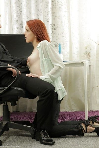 Redhead innocent beauty Amarna Miller is playing with boss