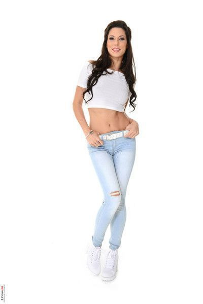 Perfect brunette alexa tomas strips out of her tight jeans