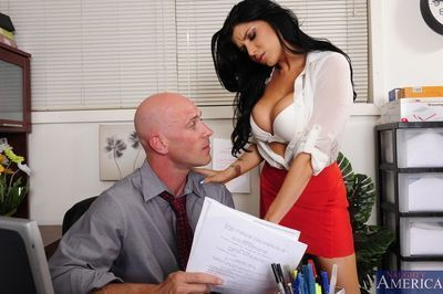 Promiscuous secretary Romi Rain seduces and fucks her hung boss