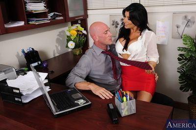 Promiscuous secretary Romi Rain seduces and fucks her hung boss