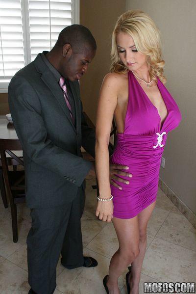 Blonde MILF babe with big hooters Blake Rose fucking black cock