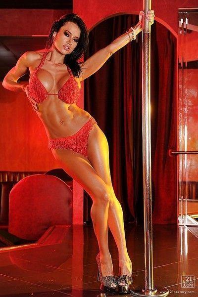 Seductive babe in sexy lingerie Franceska Jaimes does some pole dancing