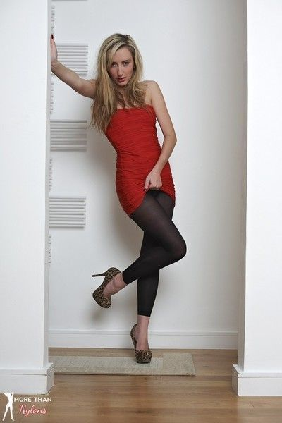 Leggy sophia in her red dress and black pantyhose