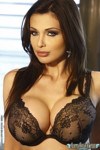European brunette Aletta Ocean reveals her big tits in lingerie