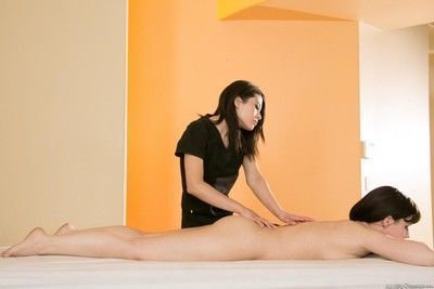 Marie mccray and her friends belle noir and raven rockette have fun in massage s