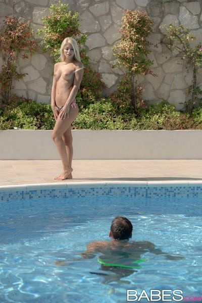 Chloe lacourt sensually makes love to her boyfriend in the pool